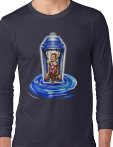 11th Doctor with Blue Phone box in time vortex Long Sleeve T-Shirt
