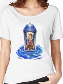 11th Doctor with Blue Phone box in time vortex Women's Relaxed Fit T-Shirt