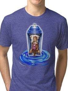 11th Doctor with Blue Phone box in time vortex Tri-blend T-Shirt