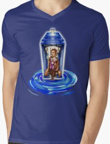 11th Doctor with Blue Phone box in time vortex Mens V-Neck T-Shirt