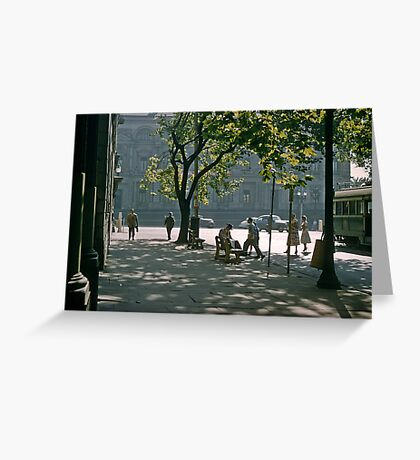 Paris end of Collins Street Melbourne 19570121 0005 Greeting Card