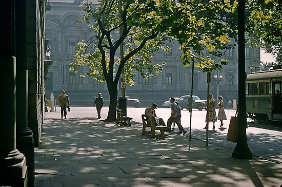 Paris End of Collins Street Melbourne 1957 by Fred Mitchell