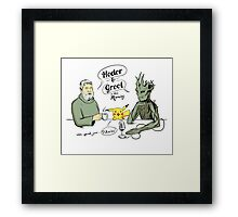 hodor & groot with special guest...pikachu! Framed Print