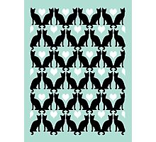 Cat Pattern mint pastel dots black and white cat person cat lady cute car cell phone Photographic Print