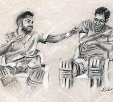 Padded Up - Kohli and Dhoni by Paulette Farrell