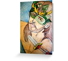 Green Man Warrior Greeting Card