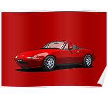 Eunos Roadster MK1 Classic Red Poster