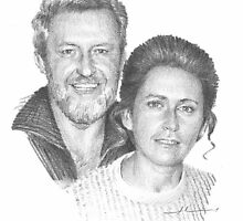 Younger mom & dad drawing by Mike Theuer