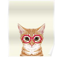 Ginger - Cute cat with glasses hipster cat art for dorm college decor funny cat lady meme Poster