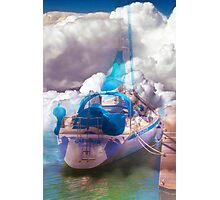 boat in a cloudy sea Photographic Print