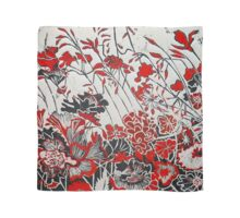 Woodcut Flowers in Red Scarf