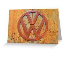 Vintage Rusty Volkswagen Bus Logo Greeting Card