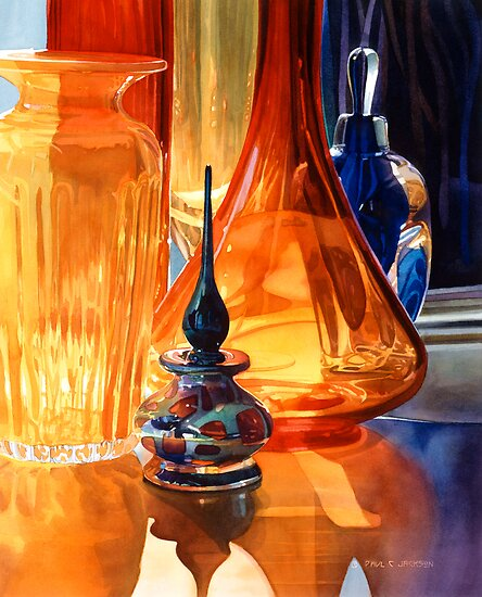 """Hide and Seek"" Art Glass Watercolor, Paul Jackson by Paul Jackson"