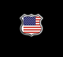 American Shield, America, Stars & Stripes, USA, Americana, Pure & Simple, on BLACK by TOM HILL - Designer