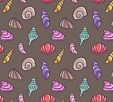 Colorful Sea shells Pattern by Anaa