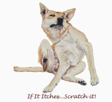 Cute funny dog scratching art with humorous slogan Kids Clothes