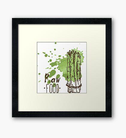 hand drawn vintage illustration of asparagus Framed Print