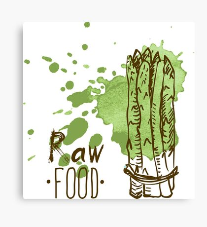 hand drawn vintage illustration of asparagus Canvas Print