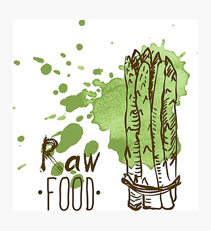 hand drawn vintage illustration of asparagus Photographic Print