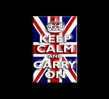 Keep Calm & Carry On, Union Jack Flag, Blighty, UK, Be British! by TOM HILL - Designer