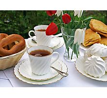 Afternoon tea in a summer garden Photographic Print