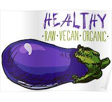hand drawn vintage illustration of eggplant Poster