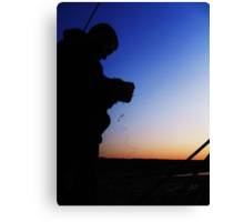 Fisherman Silhouette Canvas Print