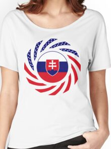 Slovakian American Multinational Patriot Flag Series Women's Relaxed Fit T-Shirt