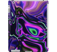 retro abstract northern light rays neon purple green iPad Case/Skin