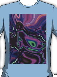 retro abstract northern light rays neon purple green T-Shirt