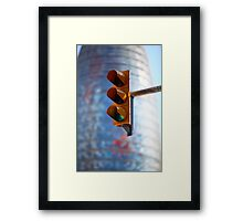 green traffic light in the city Framed Print