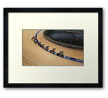 bicycle race at racetrack tilt  shot Framed Print