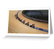 bicycle race at racetrack tilt  shot Greeting Card