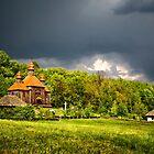 Ukrainian historical country wood church by Valerii Baryspolets