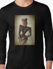 Rachel Blade Runner Racheal Ridley scott sci fi science fiction harrison ford 80's woman female girl nior noir dark brunette fashion crime replicant skin job skinjob  Long Sleeve T-Shirt