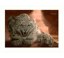 Snow Leopard - 'Protective Mother' Art Print