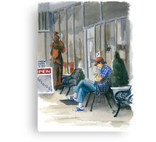 Sidewalk Reader Canvas Print