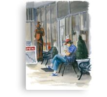 Sidewalk Reader Canvas Print