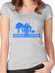 Cottage w/ Picket Fence (Blue design) Women's Fitted Scoop T-Shirt