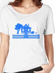Cottage w/ Picket Fence (Blue design) Women's Relaxed Fit T-Shirt