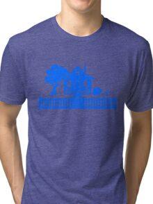 Cottage w/ Picket Fence (Blue design) Tri-blend T-Shirt