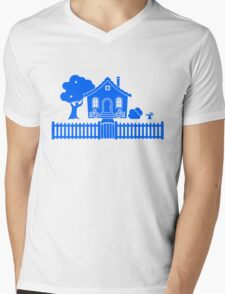 Cottage w/ Picket Fence (Blue design) T-Shirt