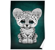 Cute Baby Snow Leopard Cub on Teal Blue Poster