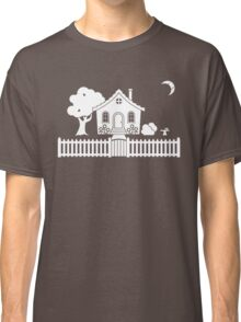 Cottage w/ Picket Fence (White design w/ moon) Classic T-Shirt