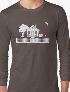 Cottage w/ Picket Fence (White design w/ moon) Long Sleeve T-Shirt