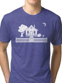 Cottage w/ Picket Fence (White design w/ moon) Tri-blend T-Shirt