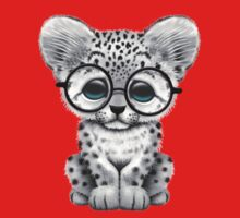 Cute Snow Leopard Cub Wearing Glasses on Red Kids Clothes