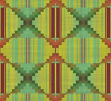 Tribal green brown pattern by lalylaura