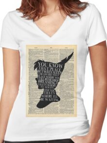 Peter Pan Vintage Dictionary Page Style -- That Place Women's Fitted V-Neck T-Shirt