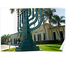 Giant green Menora in front of a Synagogue in Weston,Florida Poster
